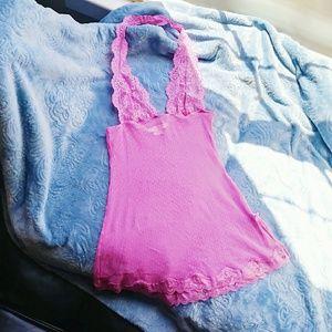 Victoria's Secret Pink Babydoll Halter Chemise